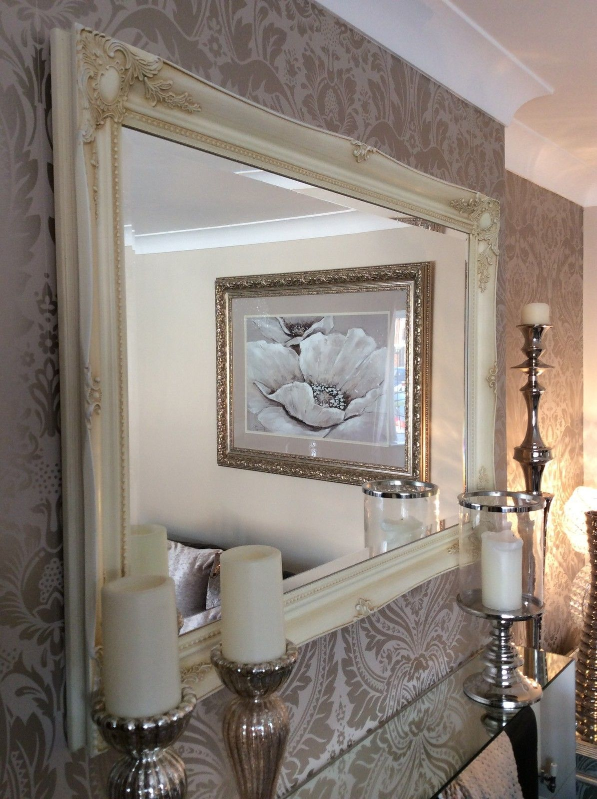 HUGE Cream Shabby Chic Framed Ornate Wall Overmantle Mirror CHOOSE YOUR SIZE